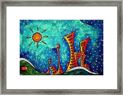 Funky Town Original Madart Painting Framed Print by Megan Duncanson