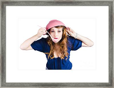 Funny Housewife Cooking Framed Print by Jorgo Photography - Wall Art Gallery