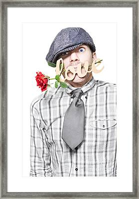 Funny Man Saying Sorry With Love And A Red Rose Framed Print by Jorgo Photography - Wall Art Gallery