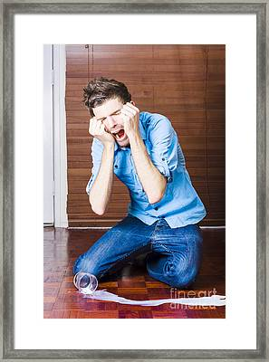 Funny Over The Top Man Crying Over Split Milk Framed Print by Jorgo Photography - Wall Art Gallery