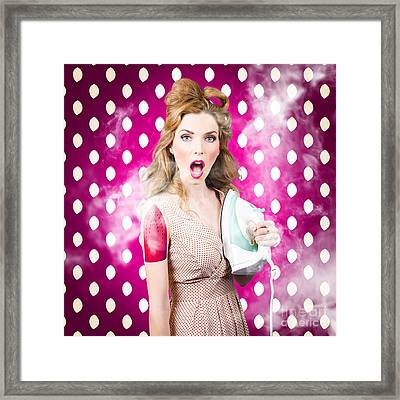 Funny Pin-up Woman Pressing Clothes. Dry Cleaning Framed Print by Jorgo Photography - Wall Art Gallery