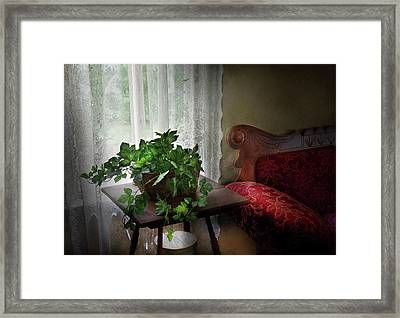 Furniture - Plant - Ivy In A Window  Framed Print by Mike Savad