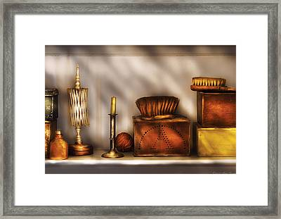 Furniture - Shelf - A Collection Of Curious Items Framed Print by Mike Savad