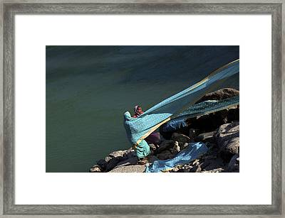 G A N G A. Rishikesh Framed Print by Claude Renault