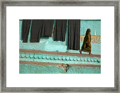 G H A T S. Varanasi Framed Print by Claude Renault