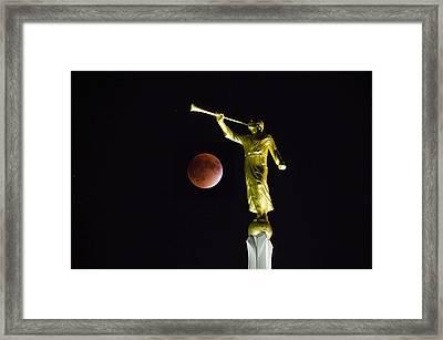 Gabriel Trumpeting The Blood Moon Eclipse Framed Print by Deborah Smolinske