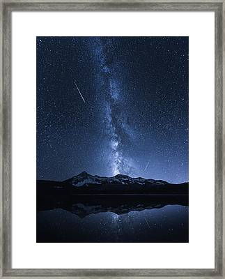 Galaxies Reflection Framed Print by Toby Harriman