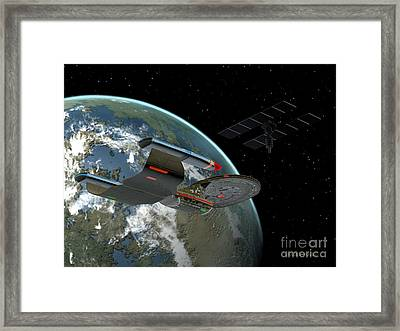Galaxy Class Star Cruiser Framed Print by Corey Ford