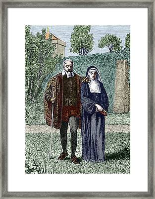 Galileo And His Daughter Maria Celeste Framed Print by Sheila Terry