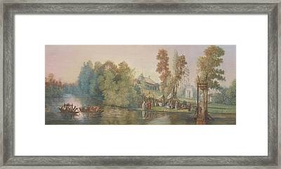 Gallant Scene  Picnic At A Lake, Framed Print by Jean Pierre Norblin