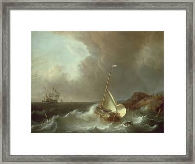 Galleon In Stormy Seas   Framed Print by Jan Claes Rietschoof