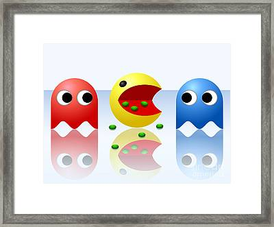 Game Ghost Monsters Pac-man Framed Print by Miroslav Nemecek