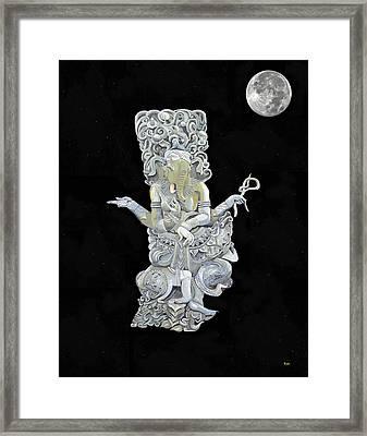 Ganesh With Moon The Hindu Elephant God. Framed Print by Eric Kempson
