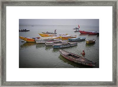 Ganges River Boats Framed Print by David Longstreath