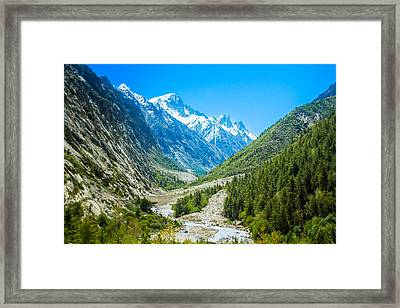 Ganges River Valley - Indian Himalayas Framed Print by Nila Newsom