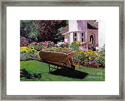 Garden At Patio Lane Framed Print by David Lloyd Glover