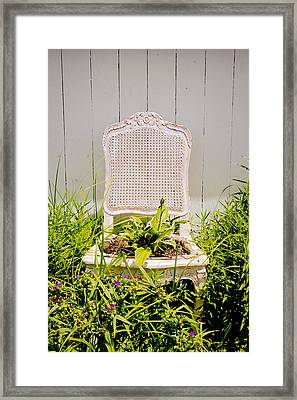 Garden Chair - Misty Gray Framed Print by Colleen Kammerer