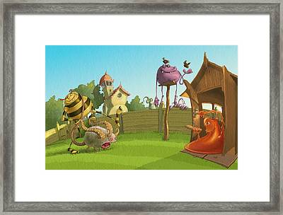 Garden Monsters Framed Print by Andy Catling
