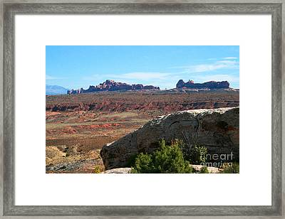 Garden Of Eden Rock Formations, Arches National Park, Moab Utah Framed Print by Corey Ford