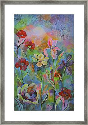 Garden Of Intention - Triptych Center Panel Framed Print by Shadia Derbyshire