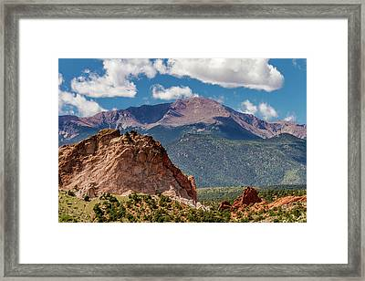 Garden Of The Gods And Pikes Peak Framed Print by Bill Gallagher