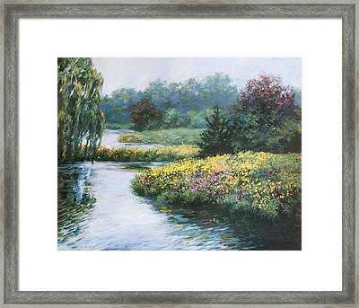 Garden On Water Framed Print by Laurie Hein