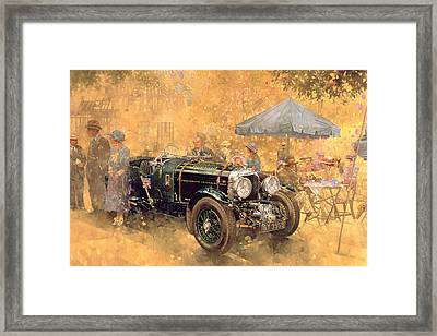 Garden Party With The Bentley Framed Print by Peter Miller