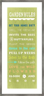 Garden Rules Framed Print by Linda Woods