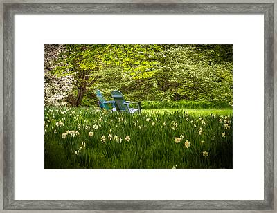 Garden Seats Framed Print by Kristopher Schoenleber