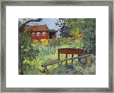 Garden With Red House Framed Print by Celestial Images