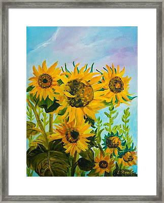 Garden Yellow Sunflowers  Framed Print by Elena Pronina