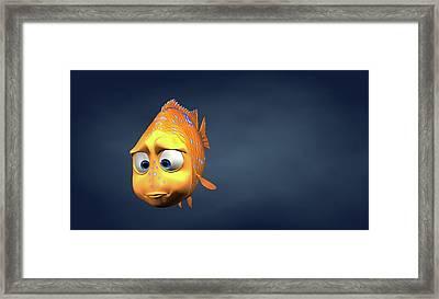 Garibaldi Fish In 3d Cartoon Framed Print by BaloOm Studios