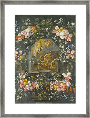 Garlands Of Flowers Framed Print by Jan Brueghel
