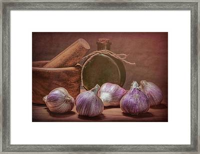 Garlic Bulbs Framed Print by Tom Mc Nemar