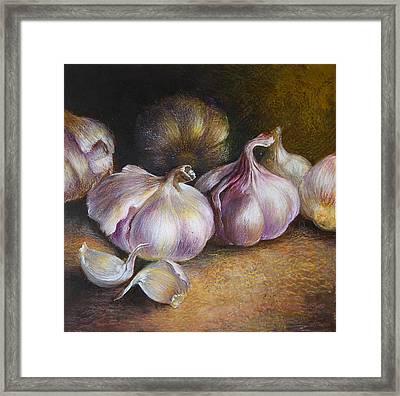 Garlic Painting Framed Print by Vali Irina Ciobanu