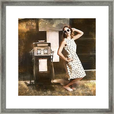 Gas And Oil Painting Pinup  Framed Print by Jorgo Photography - Wall Art Gallery