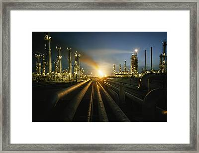 Gas Fires Light The Sky As A Heavily Framed Print by Thomas J. Abercrombie