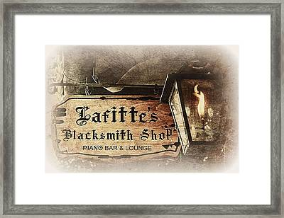 Gas Light At Lafitte's Blacksmith Shop Framed Print by Toni Abdnour