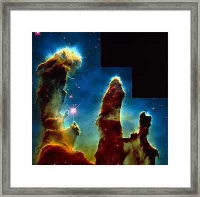 Gas Pillars In Eagle Nebula Framed Print by Nasaesastscij.hester & P.scowen, Asu