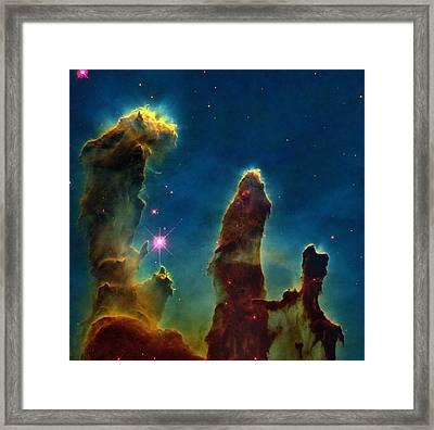 Gas Pillars In The Eagle Nebula Framed Print by Nasaesastscij.hester & P.scowen, Asu