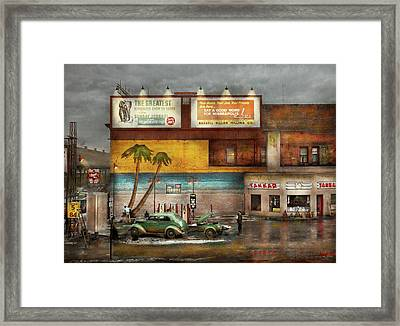 Gas Station - Dreaming Of Summer 1937 Framed Print by Mike Savad