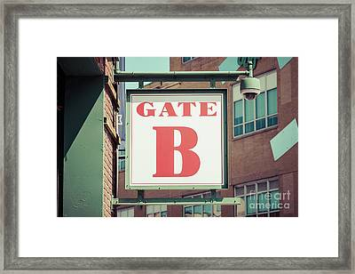 Gate B Sign At Boston Fenway Park Framed Print by Paul Velgos