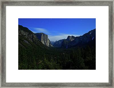 Gates Of Valley At Night Framed Print by Carl Jackson