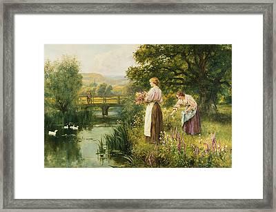 Gathering Spring Flowers Framed Print by Henry John Yeend King