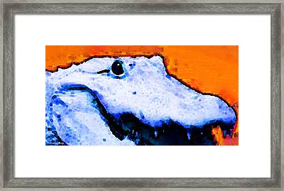 Gator Art - Swampy Framed Print by Sharon Cummings