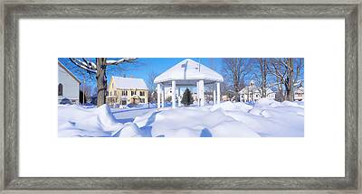 Gazebo And Town In Winter, Danville Framed Print by Panoramic Images