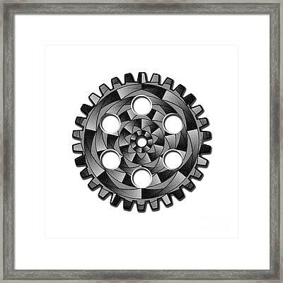 Gearwheel In Black And White Framed Print by Gaspar Avila