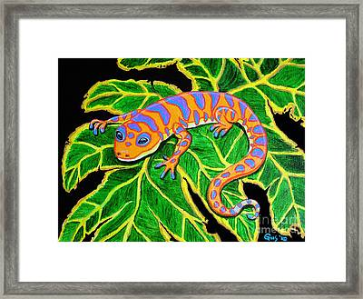 Gecko Hanging On Framed Print by Nick Gustafson