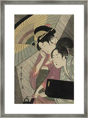 Geisha And Attendant On A Rainy Night Framed Print by Kitagawa Utamaro