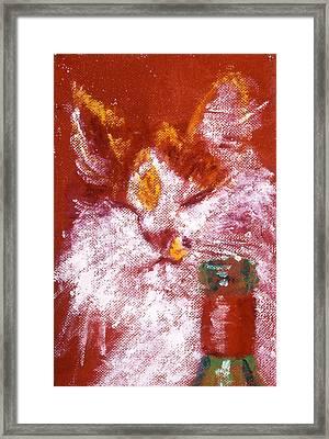 Gemma With Wine Framed Print by LB Zaftig